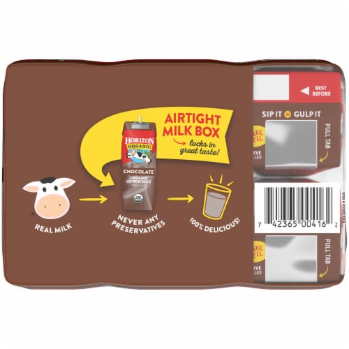 Horizon Organic 1% Chocolate Lowfat Milk Perspective: top