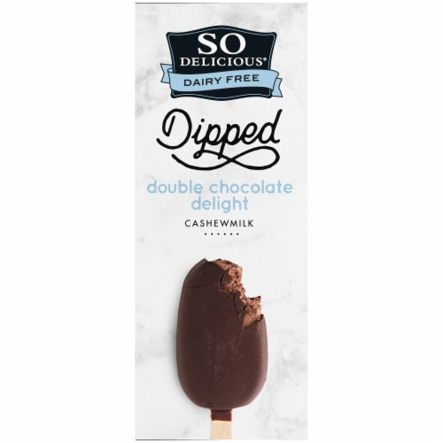 SO Delicious Dipped Double Chocolate Delight Cashewmilk Non Dairy Frozen Dessert Bars 4 Count Perspective: top