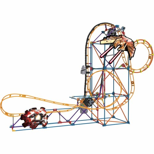 K'NEX Thrill Rides - Space Invasion Roller Coaster Building Set with Ride It! App - 438 Piece Perspective: top