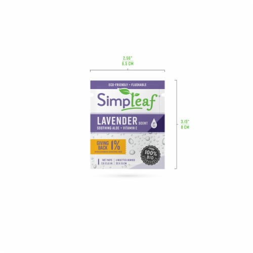 Simpleaf Flushable Single Pack Wet Wipes Aloe Vera w/ Lavender Scent Travel Size (60Count) Perspective: top