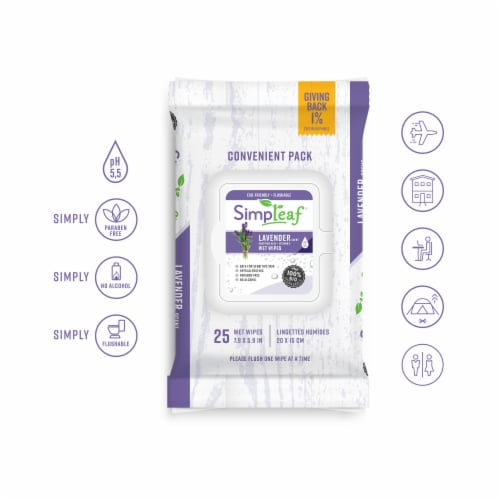 Simpleaf Flushable Wet Wipes Soothing Aloe Vera Formula with Lavender Scent (25Count) 4PK Perspective: top