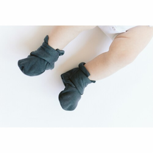 Goumikids Organic Stay On Baby Infant Booties, 0-3M Stripe/Midnight (2 Pairs) Perspective: top