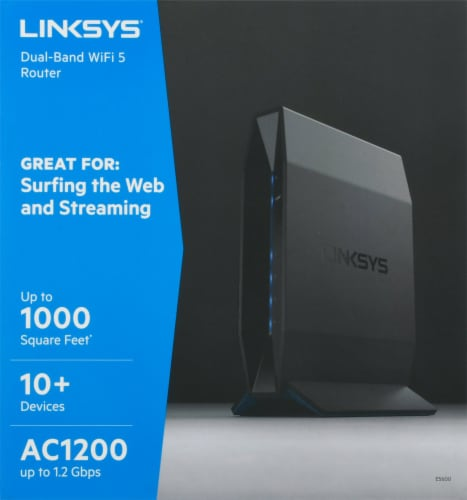 Linksys® Black Dual-Band AC1200 WiFi 5 Router Perspective: top