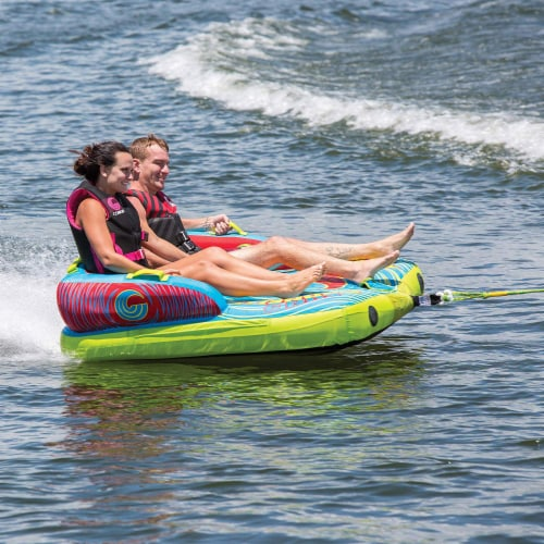 Connelly Fun 2 Person 2 Way 65x65 Inch Inflatable Boat Towable Water Inner Tube Perspective: top