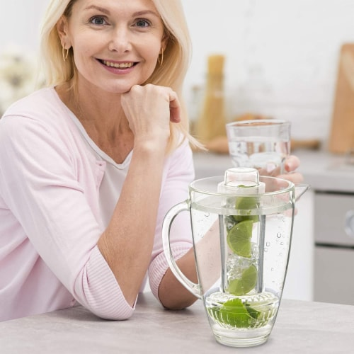 Eternal Kitchen Ideas Fruit Infusion Flavor Pitcher,  94 oz Clear Perspective: top