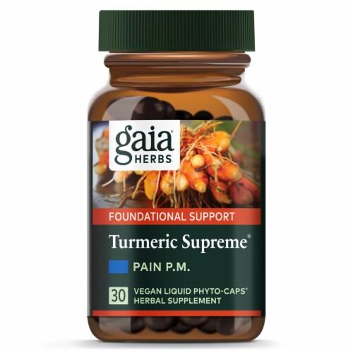 Gaia Herbs Turmeric Supreme Pain P.M. Liquid Phyto-Caps Perspective: top