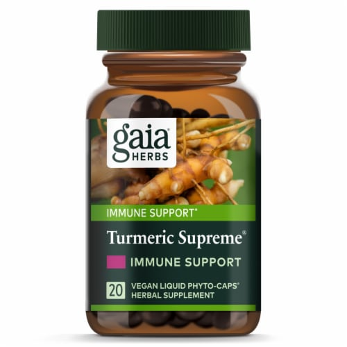 Gaia Herbs Turmeric Supreme Immune Support Supplement Perspective: top