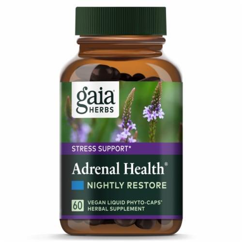 Gaia Herbs Adrenal Health Nightly Restore Liquid Phyto-Caps Perspective: top