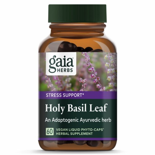 Gaia Herbs® Holy Basil Leaf Supplement Perspective: top