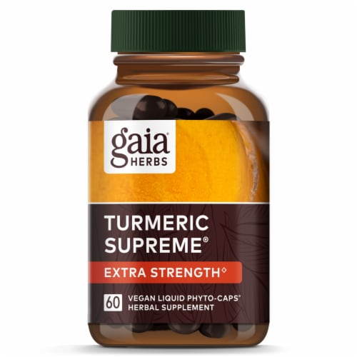 Gaia Herbs Turmeric Supreme Extra Strength Dietary Supplement Liquid Phyto-Caps Perspective: top