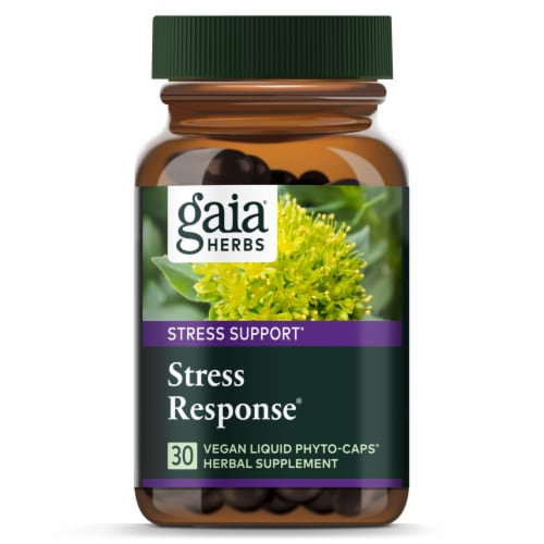 Gaia® Herbs Stress Support Stress Response Herbal Supplement Liquid Capsules Perspective: top