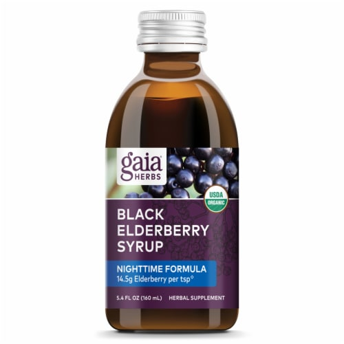 Gaia Herbs Black Elderberry Nighttime Syrup Perspective: top