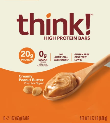 think! Creamy Peanut Butter High Protein Bars Perspective: top