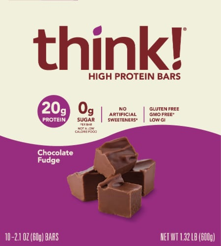 think! Chocolate Fudge High Protein Bars Perspective: top