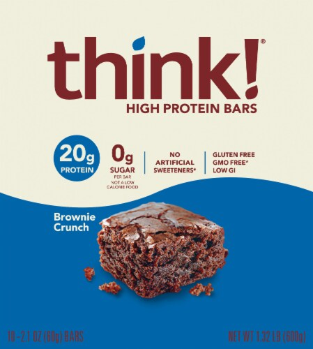 think! Brownie Crunch High Protein Bars Perspective: top