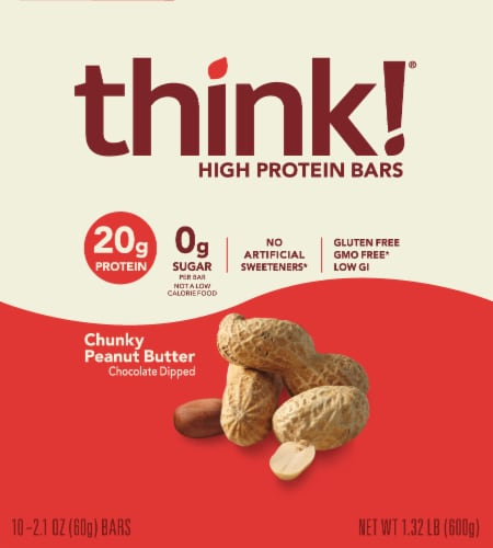 think! Chunky Peanut Butter High Protein Bars Perspective: top