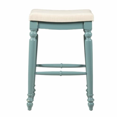 Saltoro Sherpi Saddle Top Wooden Bar Stool with Fabric Upholstery, Blue and Beige Perspective: top