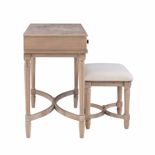 Linon Cyndi Wood Vanity Set in Gray Wash Perspective: top