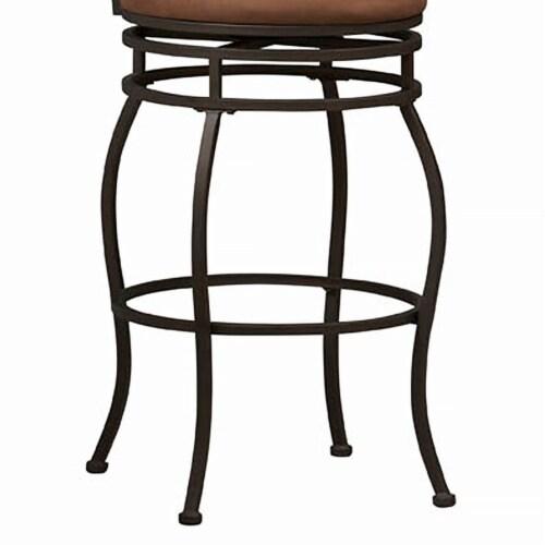 Linon Swag 30  Metal Swivel Bar Stool in Brown Perspective: top