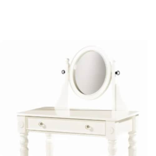 Saltoro Sherpi Wooden Vanity Set with Adjustable Mirror and Drawer, White and Beige Perspective: top