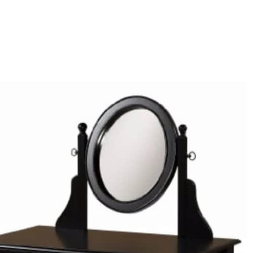 Saltoro Sherpi Wooden Vanity Set with Adjustable Mirror and Drawer, Black and Beige Perspective: top