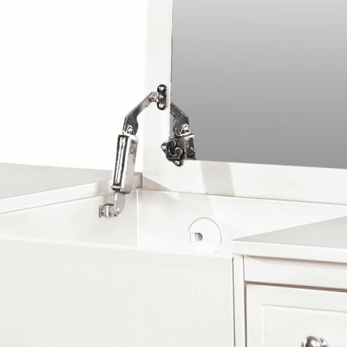 Linon Butterfly Wood Vanity and Stool in White Perspective: top
