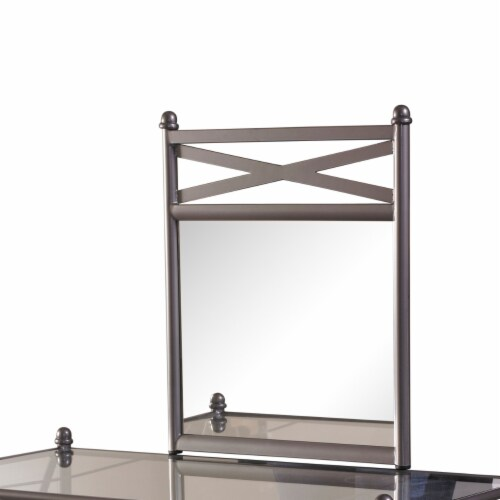 Linon Mission Hills Metal and Glass Vanity Set in Gray Perspective: top