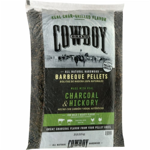 Cowboy Charcoal and Hickory Wood Pellet Fuel 20 lb. - Case Of: 1; Perspective: top