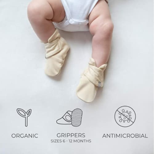 Goumikids Super Soft Organic Stay On Baby Infant Booties, 0-3M Enchanted Garden Perspective: top