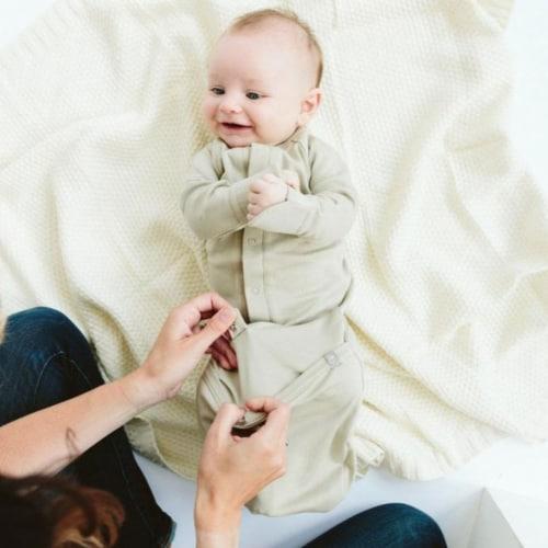 Goumikids Baby Sleeper Gown Organic Bamboo Sleepsack Pajama Clothes, 3-6M Moss Perspective: top