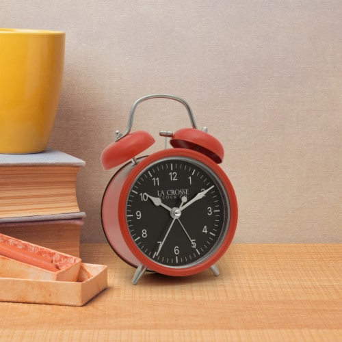 La Crosse Technology Twin Bell Alarm Clock - Red Perspective: top