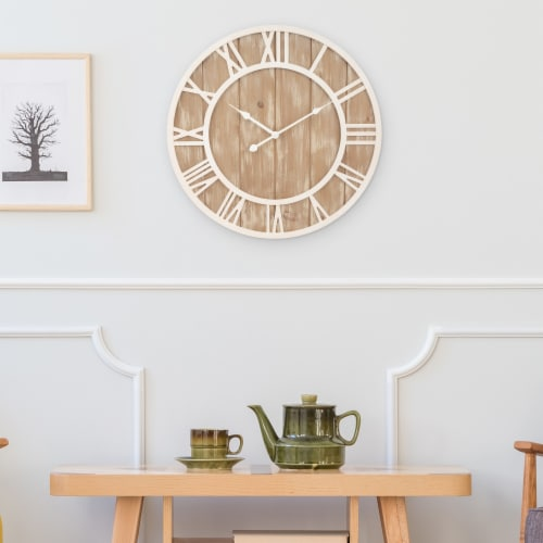 La Crosse Technology Wood Wall Clock - Off White Perspective: top