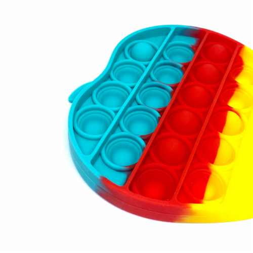 Silicone Bubble Push Pop it Fidget Toy Rainbow Apple (2 chosen randomly) Perspective: top