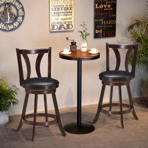 Gymax Set of 2 Swivel Bar stool 24'' Counter Height Leather Padded Dining Kitchen Chair Perspective: top