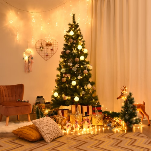 Gymax 7Ft Christmas Tree Artificial Hinged Tree w/ Pine Cones Metal Stand Perspective: top