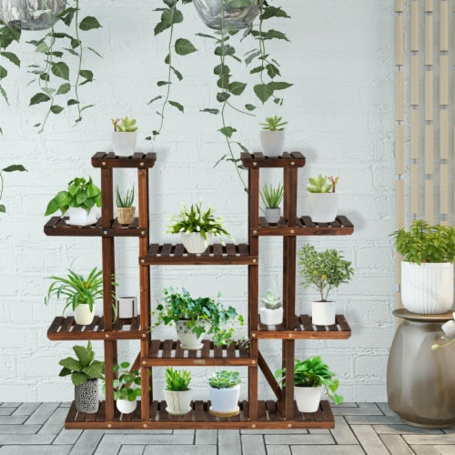 Gymax 9 Tier Wood Plant Stand 45'' High Carbonized 17 Potted Flower Shelf Rack Holder Perspective: top