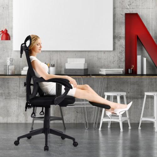 Gymax High Back Office Recliner Chair Adjustable Headrest w/ Footrest & Lumbar Pillow Perspective: top
