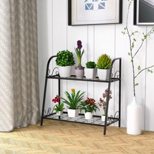Gymax 2-tier Metal Plant Stand Shelf Flower Pot Holder Display Rack Shoe Organizer Perspective: top