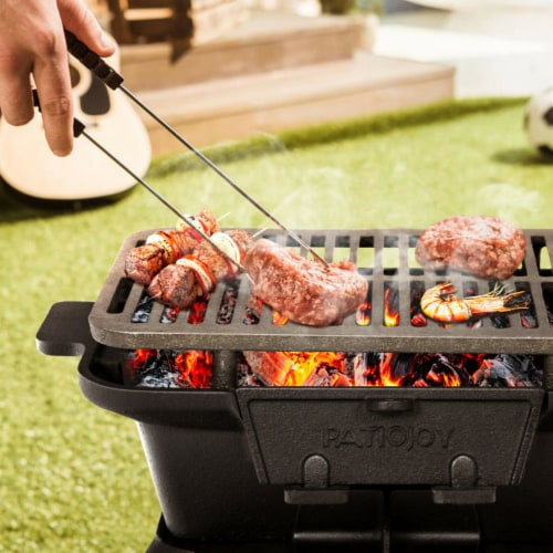 Gymax Heavy Duty Cast Iron Charcoal Grill Tabletop BBQ Grill Stove for Camping Picnic Perspective: top