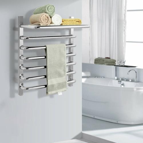 Gymax 10-Bar Wall Mounted Towel Warmer Stainless Steel Plug-in Towel Rack w/ Top Shelf Perspective: top