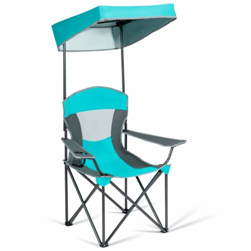 Gymax Folding Sunshade Chair Camping Chair Outdoor w/ Canopy Carrying Bag Turquoise Perspective: top