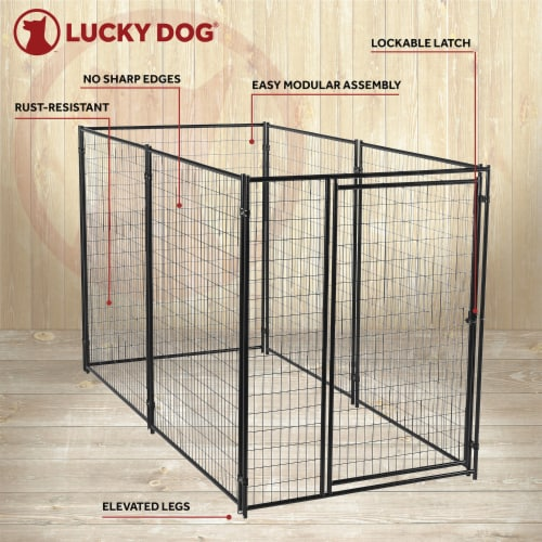 Lucky Dog Large Modular Welded Wire Box Indoor Outdoor Dog Kennel, 10x5x6 Feet Perspective: top