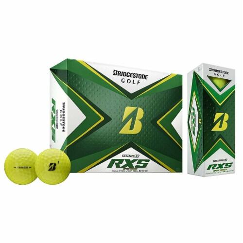 Bridgestone Golf 2020 Tour B RXS Reactive Urethane Distance Golf Balls, Yellow Perspective: top