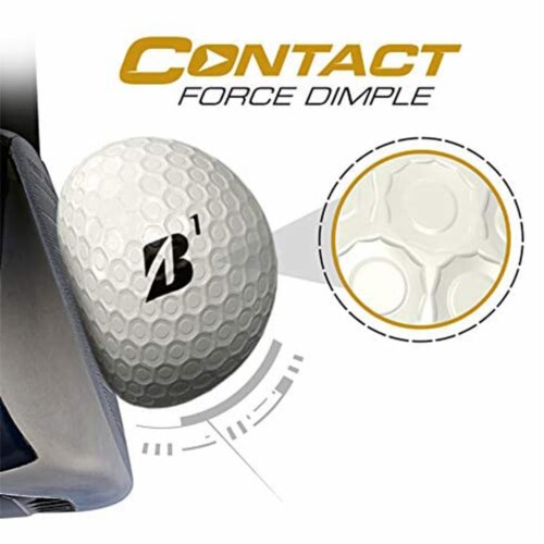 Bridgestone e12 CONTACT Series Golf Balls with Force Dimples, White, 12 Pack Perspective: top