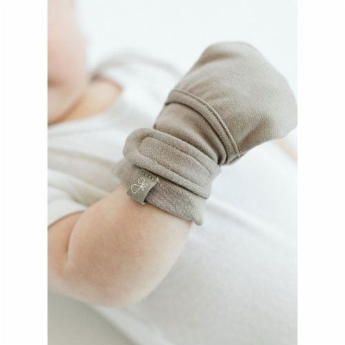 Goumikids Organic No Scratch Baby Infant Mittens, 3-6M Pewter/Drops (2 Pairs) Perspective: top
