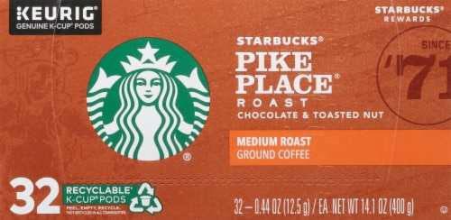 Starbucks Pike Place Medium Roast Ground Coffee K-Cup Pods Perspective: top
