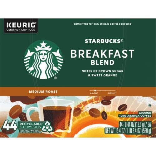 Starbucks Breakfast Blend Medium Roast Ground Coffee K-Cup Pods Perspective: top