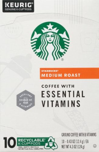 Starbucks Medium Roast Coffee with Essential Vitamins K-Cup Pods Perspective: top