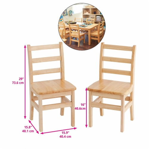 ECR4Kids 16 Inch Natural Hardwood Stable 3 Rung Ladderback Toddler Chair, 2 Pack Perspective: top
