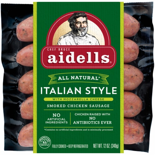 Aidells® Italian Style with Mozzarella Cheese Smoked Chicken Sausage Perspective: top